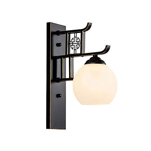 YANGYANG Lámpara de Pared Tradicional Vintage Hierro Forjado, Aplique de Luces de Pared Chino, Luz de Pared Cristal Bola, Art Deco for Sala de Estar Isla de Cocina [Clase Energética A ++]