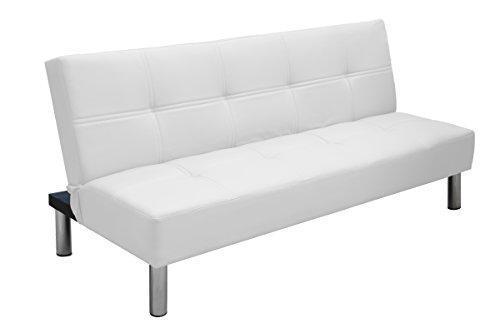 Eglemtek havana divano letto 2 posti reclinabile in ecopelle con gambe in metallo cromato, 176 x 99 x 40 cm - per hotel casa ufficio soggiorno salotto studio - disponibile in 6 colori (bianco)