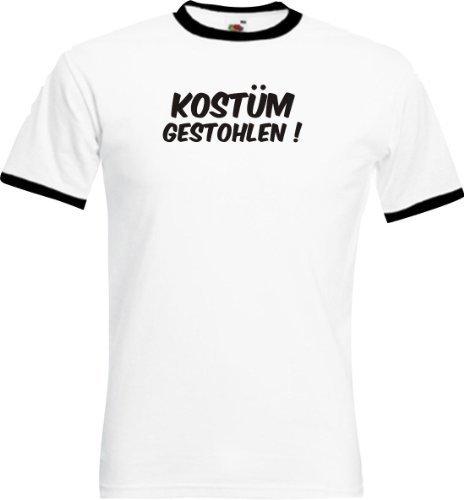 Ringer Shirt Karneval Kostüm gestohlen! Fasching Kostüm Verkleidung,Farbe weiss-schwarz, Größe XL (T-shirt Kostüm Ringer)