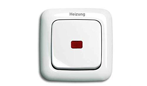 BUSCH JÄGER Komplettset Heizung-Not-Schalter - 2-polig - Heizungnotschalter mit Schriftzug: Heizung - Wippkontrollschalter 2-polig mit Beleuchtung, rote Kalotte, Typ: Reflex SI alpinweiß Notschalter -
