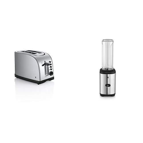 WMF Toaster Stelio, mit Bagelfunktion, 900 Watt, Edelstahl matt & WMF Kult X Mix & Go Smoothie Mini Standmixer, Smoothie Maker, 300 Watt, Tritan Flasche, silber