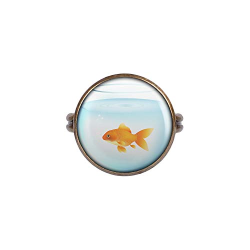 Mylery Ring mit Motiv Gold-Fisch Glas Aquarium Fish-Tank Bronze 16mm -