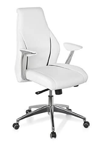 hjh OFFICE, 600165, Luxury Executive Chair, swivel office chair, CARMINO 10, white, leather, ergonomic backrest, design computer desk chair with amrests, stable designer base in polished aluminium, height