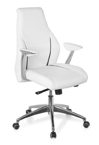 hjh OFFICE 600165 chaise de bureau à roulettes, fauteuil de bureau CARMINO 10 blanc/noir en cuir, siège haut de gamme avec accoudoirs, dossier haut inclinable, ergonomique et confortable, design moderne, piètement en métal