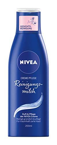 NIVEA 4er Pack Gesichts-Reinigungsmilch, 4 x 200 ml Flasche, Creme Pflege Reinigungsmilch, Duft & Pflege der NIVEA Creme