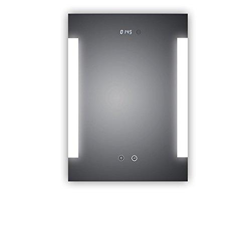 Top AK! Miroir de salle de bain à LED avec horloge numérique et éclairage latéral, classe énergétique A+ 50 x 70 cm