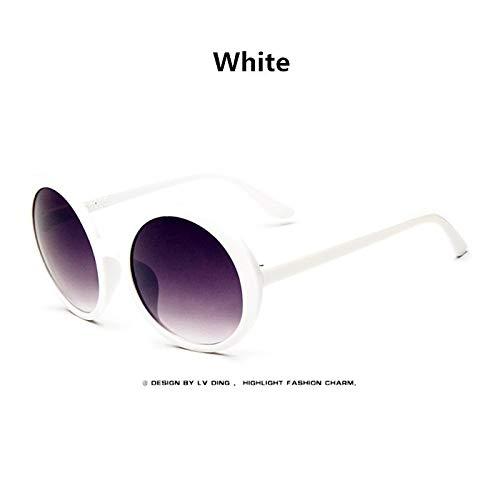 CQYYDD Übergroße Sonnenbrille Lady Big Frame Kunststoff Runde Shades Retro Vintage Sonnenbrille Frauen Brille UV400 weiß