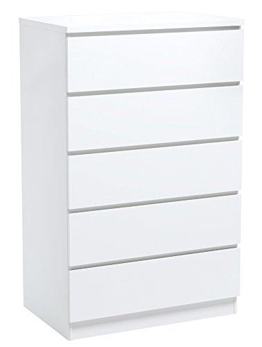 INFINIKIT Haven Kommode mit 5 Schubladen - Weiß (Kinder Kommode Weiß)