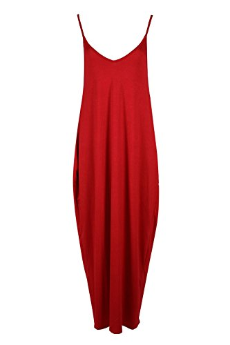 Be Jealous Womens Ladies Thin Spaghetti Strappy Sleeveless V Neck Baggy Camisole Lagenlook Long Maxi Dress
