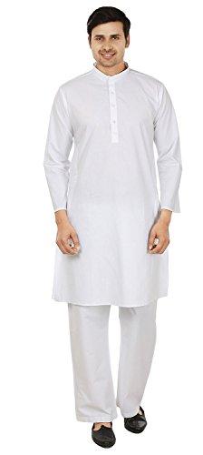 Mens Cotton Kurta-Pyjama-Weiß Traditionelle Kleidung Indien (S)