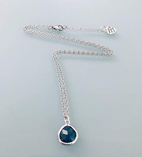 Edelstahl-Saphir-Halskette, Schmuck, Saphir-Halskette, Saphir-Juwel, Naturstein-Juwel, Glücksbringer-Halskette, Schmuckgeschenke