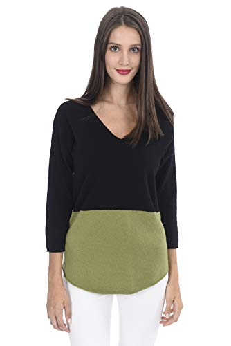 State Cashmere Damen 100% Pure Cashmere Color Block V-Ausschnitt 12 Gauge Pullover Sweater - 100% Mongolische Cashmere