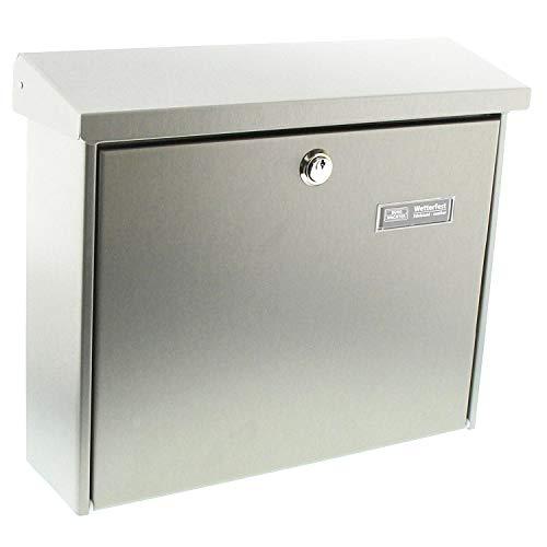 BURG-WÄCHTER, Edelstahl-Briefkasten mit aufklappbarem Regendach, A4 Einwurf-Format, Edelstahl, Amrum 3867 Ni