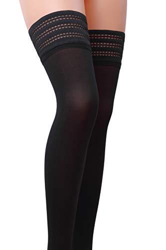 Selente Lovely Legs elegante halterlose Damen Strümpfe (made in EU), schwarz mit spitzen Reihen, Gr. M/L - 3