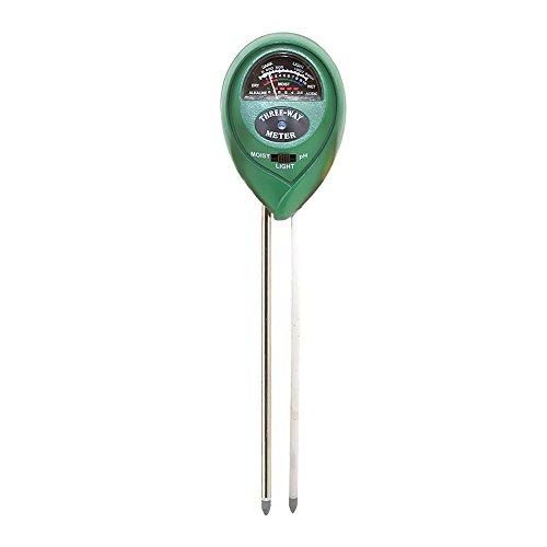 Chytaii Bodenmessgerät 3 IN 1 Bodentester Boden Feuchtigkeit Meter PH Wert Messgerät Lichtstärke Meter für Garten Bauernhof Rasen Dunkelgrün