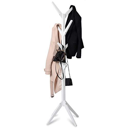 WOLTU Kleiderständer mit 8 Haken Garderobenständer Hängeregal Wäscheständer Gestell Aufhänger 180cm Höhe aus Massive Holz