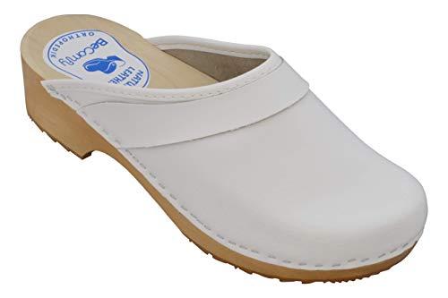 BeComfy Zoccoli da Donna Clogs Legno Calzature Scarpe Sanitarie Ospedale in Pelle Bianco & Fiori Colorati 35-41 (41 EU, Bianco-Liscio)