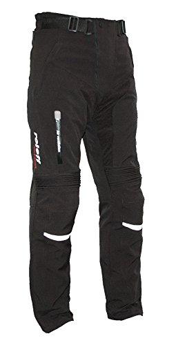 *Schwarze Softshell Motorradhose mit herausnehmbarem Thermofutter, Protektoren und Weitenverstellung, für Sommer und Winter, Größe XXL*