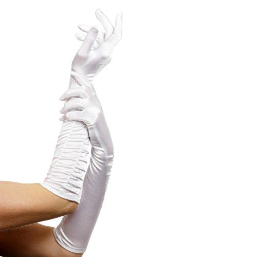 Smiffys - Long Temptress Gloves - Damenhandschuhe gerafft - ca. 46 cm lang - weiß