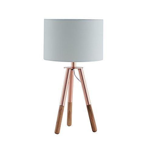 SalesFever - Lampe de table - Métal + pieds en bois - Gris-marron - Abat-jour gris en polyester solide - Avec interrupteur à pression - 30 cm de diamètre, Polyester, cuivre, 30 x 54 cm