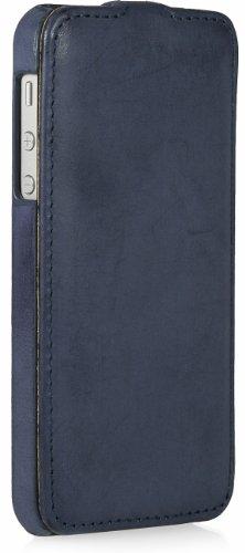 StilGut UltraSlim Case, Tasche aus Leder für Apple iPhone 5, 5s & iPhone SE, Schwarz - Nappa Old Style Ocean Blue