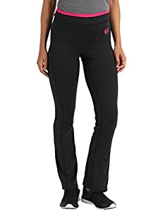 Ultrasport Women's Antibacterial Fitness Pants Long, with Quick-Dry Function - Black/Pink, X-Small