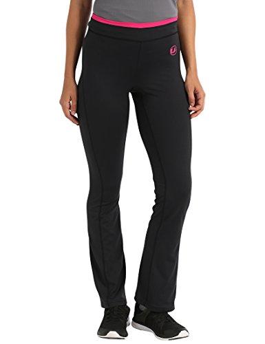 Ultrasport Damen Fitness-Hose antibakteriell, lang, Jogginghose mit Quick-Dry-Funktion, elastische trageangenehme Sporthose, Schwarz/Pink, L