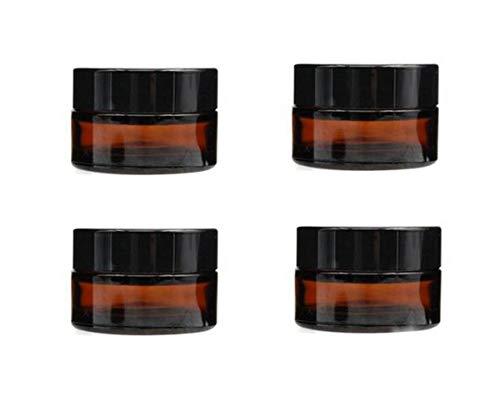 4Pcs 5 ml/10 ml leer nachfüllbar dunkelbraun Glas Make-up Kosmetik Face Cream Jar Pot Flasche Behälter mit Liners Und Schraube Deckel (5ml/ 0.17oz) Jar-form