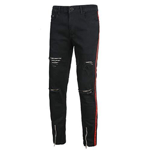hahashop2 Herren Straight Jeans Original Jeanshosen Basic Slim Fit Skinny Jeans Stretchjeans mit schmalem Reißverschluss und schwarzem Loch -