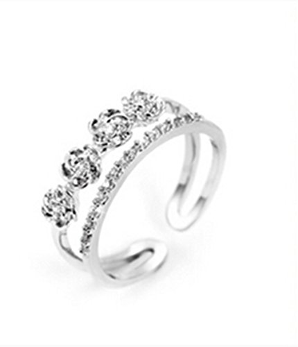 Ringe Damen Verstellbare 925 Silber 4 Rose mit Zirkonia für Partnerringe Freundschaftsringe Dopple-Ring (Silber) (Rose Blume Ring)
