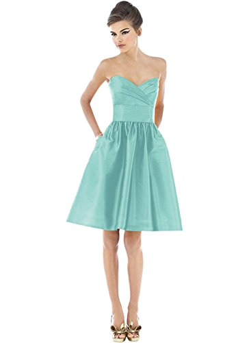 Azbro Women's Fashion Solid Strapless A-line Cocktail Dress Mint Green