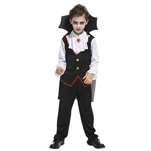 MVPKK  Ensemble Halloween Garçon Haut + Pantalon + Cape Déguisement Halloween Garçons 4-10 Ans Cosplay Costume Vampire Halloween Déguisement Costume Tenue pour Enfant (10T, Noir)