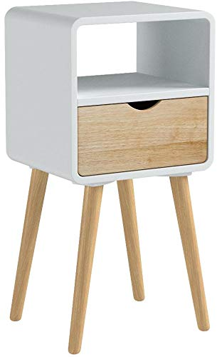 Wholesaler GmbH Nachtkommode mit Schublade Ablagefach im skandinavischen Design aus Holz weiß 35 x 30 x 70 cm Nachtschrank Nachttisch Beistelltisch
