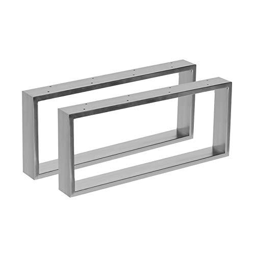 2x Tischgestell aus Edelstahl in 2 Oberflächen Hochglanz & gebürstet in 10 Varianten zur Auswahl (70x41cm, Gebürstet) -