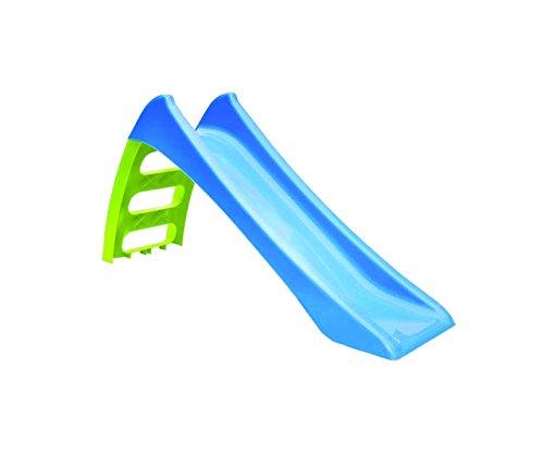 Tobogán 3peldaños, tobogán de plástico, tobogán con agua cuelgan 116x 36x 62,5, tobogán para niños, tobogán infantil Tobogán, Jardín, tobogán estructura de plástico color azul escalera verde.