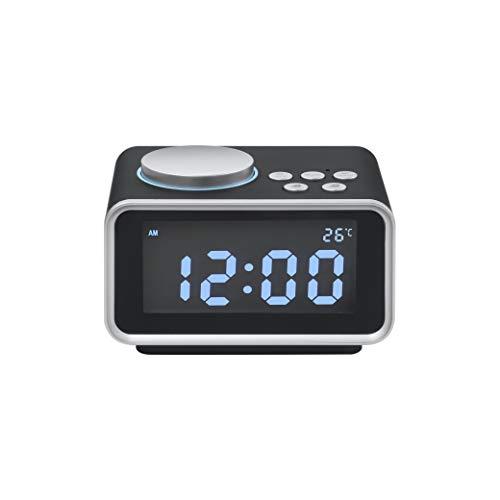 Dual Woofer (Zero-starting point LED-Anzeige Doppelwecker Dual-Unit-Bluetooth-Lautsprecher FM-Radio USB-Port Woofer schwarz und weiß,Black)