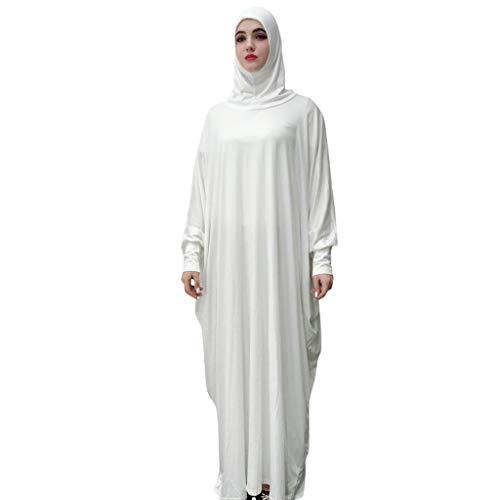 GJKK Muslimische Roben Elegante Muslimischen Kaftan Kleid Einfarbig Kopfbedeckung Moschee Fledermaus Ärmel Roben Strickjacke Ramadan Kleid Islamische Kleidung Abaya Dubai Kleider -