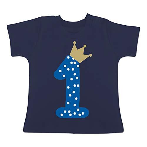 Geburtstag Baby - 1. Geburtstag Krone Junge Erster - 12/18 Monate - Navy Blau - BZ02 - Baby T-Shirt Kurzarm