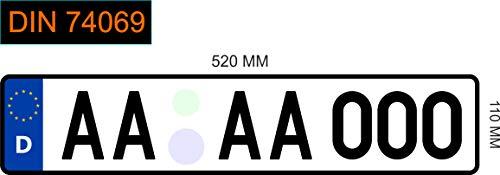 1 KFZ EU Kennzeichen 520 x 110mm - Bestellung bis 12 Uhr -> Versand am gleichen Tag, Autokennzeichen Fahrradträger Wunschkennzeichen Nummernschild PKW Kennzeichen anpassbar reflektierend