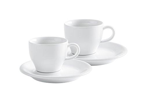 Kahla 21D249A90021C Cafe Sommelier - Juego de tazas de café con platillos (4 piezas, porcelana), color blanco