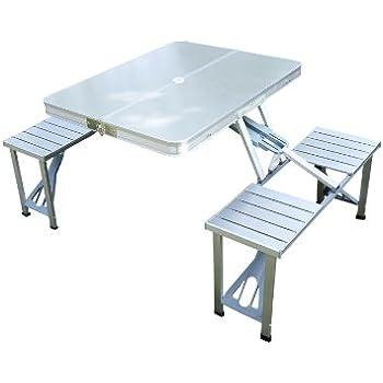 Amazon.de: Nexos Sitzgruppe Camping Aluminium Tisch 4 ...