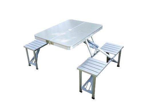 Outsunny - TAVOLO da Campeggio Richiudibile con 4 Sedie - Tavolino da picnic - Alluminio - Argento