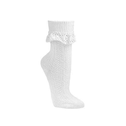 ch-home-design Umschlag-Söckchen im Landhaus-Stil,Socken Damen Trachten socken Weiß Natur 232 (39-42, Weiß) - Rüschen-söckchen Damen