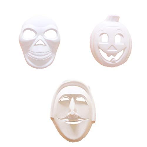 Malen Schädel Gesicht Kostüm - Amosfun 3 stücke weiße Masken DIY unbemalte gesichtsmasken kürbis schädel Hexe Masken Frauen männer Gesicht Plain Maskerade Masken für Kinder dekorieren Handwerk Halloween Party gefälligkeiten