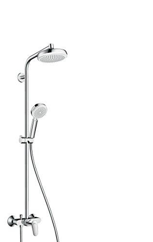 hansgrohe Crometta 160 Duschsystem mit Einhebelmischer, 4 Strahlarten, weiß/chrom