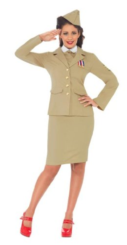 Smiffy's - Offizierin Retro Kostüm Damen 2. Weltkrieg Uniform beige 3-teilig (Weltkrieg Kostüme Damen 2)