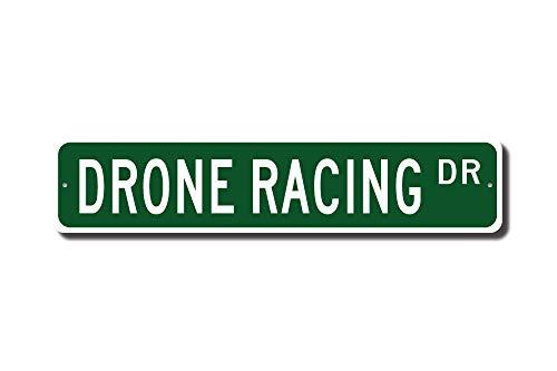 qidushop Drone Racing Drone Racing Schild Drohne Racing Fan Multirotor Drohnen Besitzer Geschenk Straßenschild Lustiges Geschenk für Garage Hof, Zaun Auffahrt Dekor