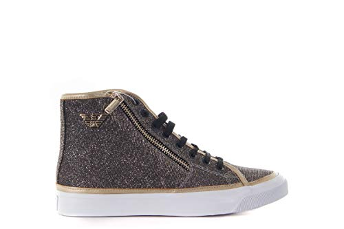 Armani Venus Damen Sneaker Turn-Schuhe Freizeit Schwarz Gold Glitzer NEU OVP, Größe:EUR 40 (UK 7) (40)