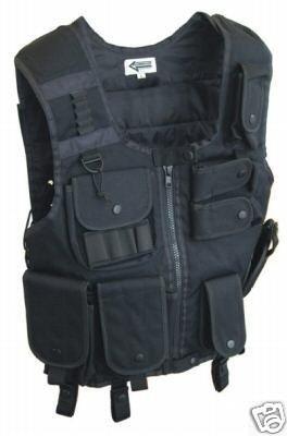 SWAT Weste mit Pistolenholster Schwarz, (Springerstiefel Schwarze Erwachsene)