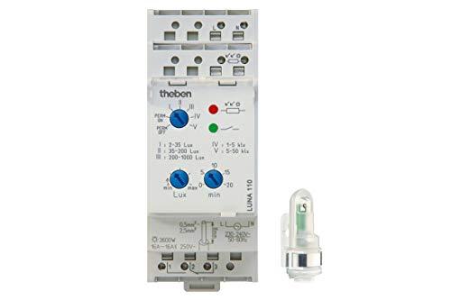 Theben 1100100 LUNA 110 AL Analoger Dämmerungsschalter mit externem Lichtsensor und einstellbarer Ein-/Ausschaltverzögerung, Dämmerungssensor, Helligkeitssensor -